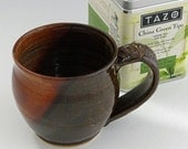 Pottery Mug - Coffee Brown and Spicy Tan