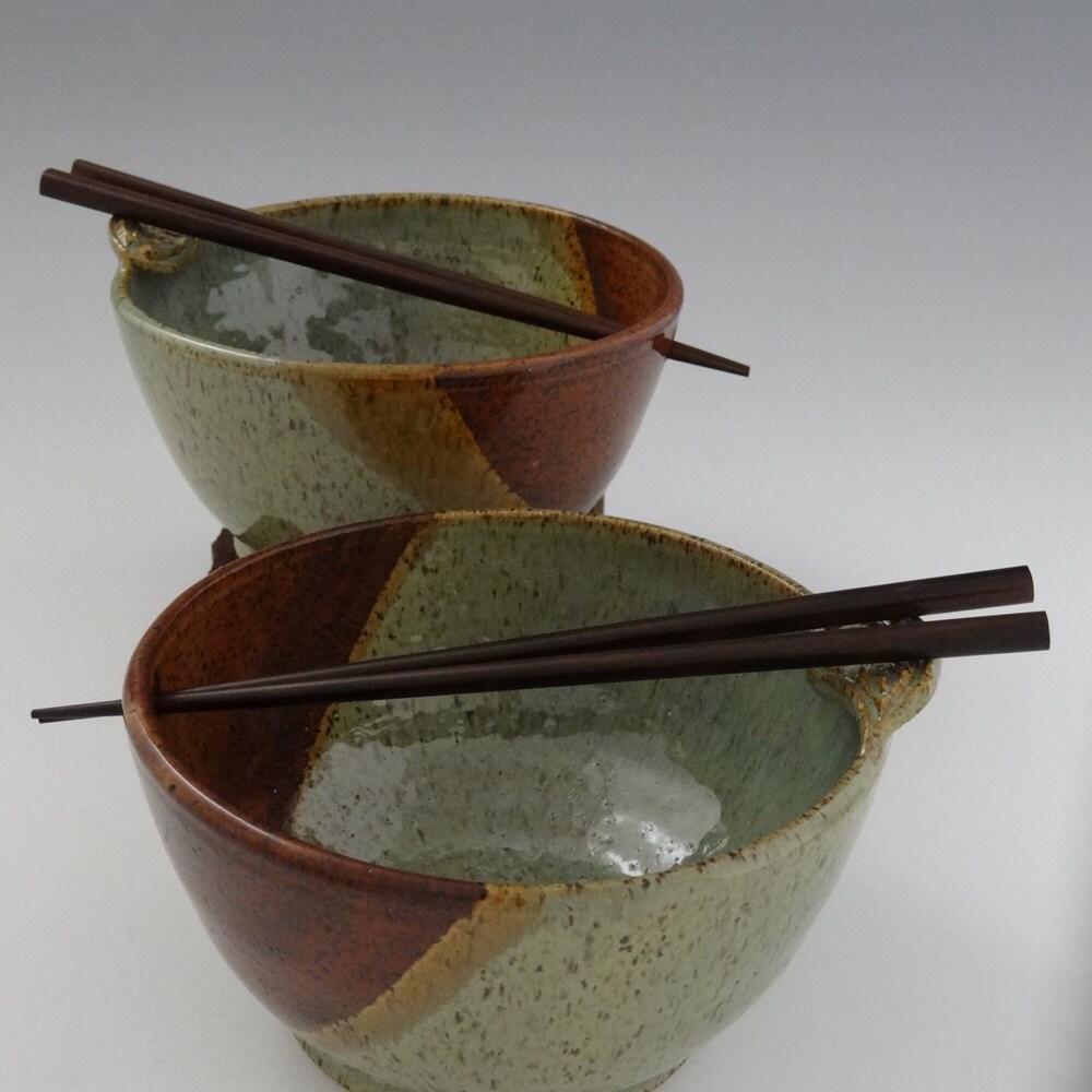 Rice Bowl / Noodle Bowl with Leaf Chopstick Rest by foxpots