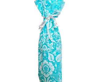 Turquoise Damask Wine Bag