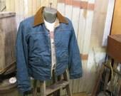 70s Wrangler vintage 227 MJL  blue Denim Jean jacket faux fur lined M