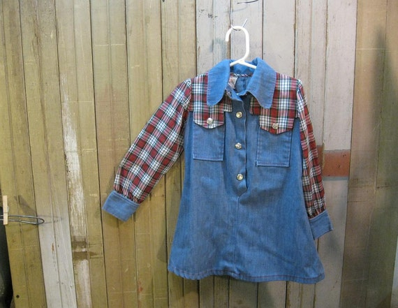 Blue Denim red tartan plaid Girls vintage 70s Cowgirl childrens Dress  S  4