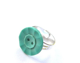 Aqua Vintage Button Adjustable Ring - Shabby Chic