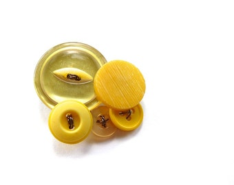 Yellow Vintage Buttons Cluster Brooch Pin