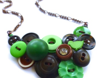 Button Necklace with Green and Brown Repurposed Vintage Buttons - Statement Jewelry