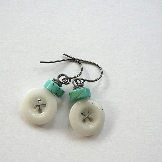 Cottage Chic Cute White Vintage Button Earrings with Aqua Beads