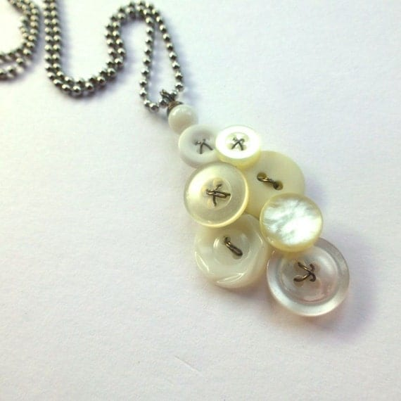 Pearly White Vintage Button Pendant Necklace
