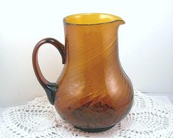 Brown Art Glass Pitcher, 1 Quart Capacity, Swirl Pattern, Applied Handle, Vintage Circa 1970s, Home Decor Vase