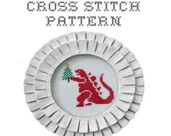 DIY Christmas Godzilla - .pdf Original Cross Stitch Pattern - Instant Download