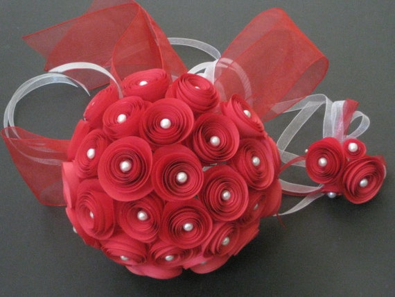 Bridal Bouquet and Groom Boutonniere set, Origami spiral rosette in red color
