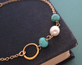 Pearl and Turquoise bracelet, layering bracelet, silver bracelet, gold bracelet, freshwater pearls, turquoise beads, summer beaded bracelet