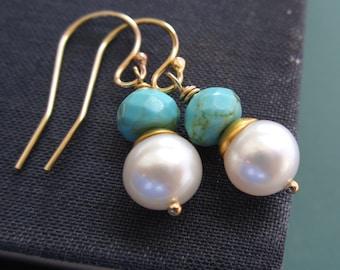 Turquoise earrings, freshwater pearl earrings, gold vermeil, turquoise nuggets, gold earrings, dangle bridesmaid earrings