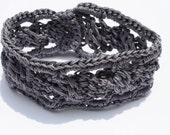 Crochet Cable Cuff, Bracelet, Fiber Bracelet, Everyday Jewelry, Gift for Her, Teacher Gift, Jewelry in Grey