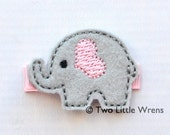 Elephant Felt Hair Clip - Light Pink and Silver Elephant Barrette - Baby Hair Clip to Adult Hair Clip - SPRING SALE - See Shop
