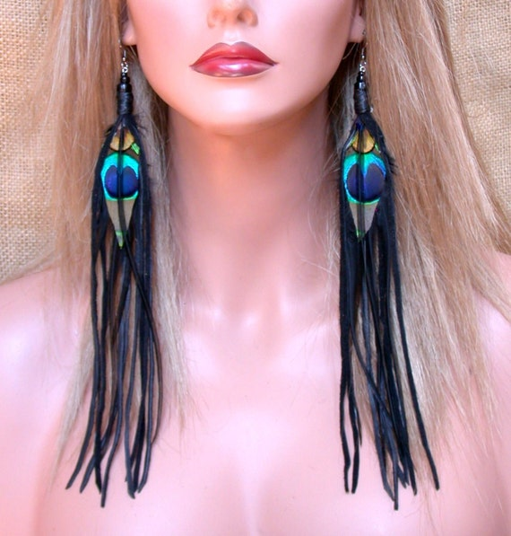 Super Long Peacock Feather Earrings with Black Deerskin Fringe- Ready to Ship