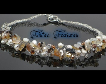 Crocheted Necklace Made With Montana Agate Beads, Freshwater Pearls