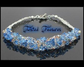 Blueberry Quartz and Swarovski Crystals Crocheted Necklace