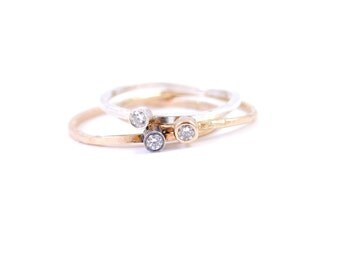 Three Stacking Rings with Bling, Cubic Zirconia