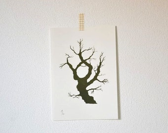 Hide-and-Seek Tree -  original art gocco screenprint