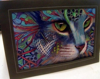 greeting card print of original art- blue Cat  Zentangle