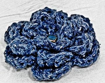 Crochet Flower Brooch - Denim Blue - Beaded Flower Pin