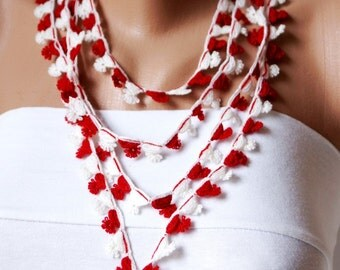 Flower DREAM- Red and White tones Lace flower Necklace, Lariat, Bracelet - Turkish lace Work