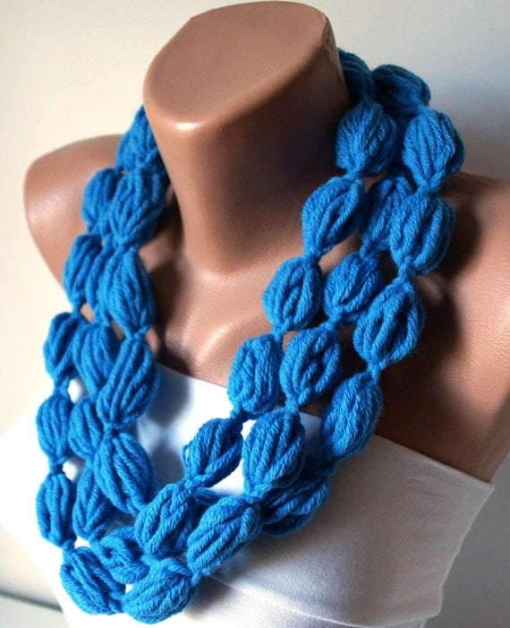 Infinity scarf , Bubble Sea Blue, Sky Blue  color scarf, necklace, lariat