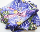 FREE OFFER Reusable Cloth Napkins - Set of 4- Michael Miller Night Flower Fairies Allover Fairies Nite Purple