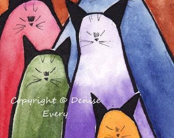 Abstract Siamese Kitties Crayon Colors Cat Art ACEO Original Painting ATC