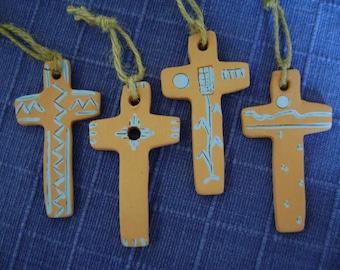 Set of 4 Terra Cotta Crosses with blue designs