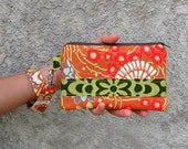 Geisha Fans and Wall Flower - Wristlet Purse with Removable Strap and Interior Pocket