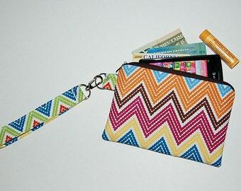 Chevron Stitch Organic (Multi Color) - Wristlet Purse with Removable Strap and Interior Pocket