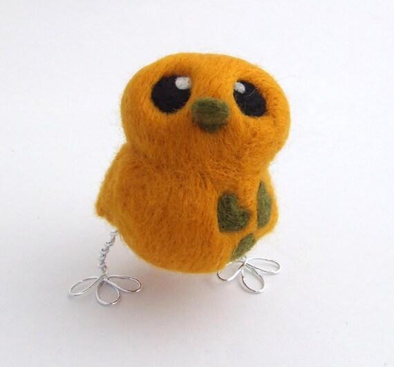 Felt Bird Golden Yellow and Olive Green Needlefelted Bird