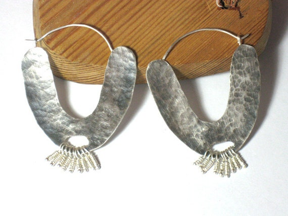 Large Sterling Silver Hoops, Boho Silver Hoop Earrings, Organic Sterling Silver Earrings, Primitive Jewelry Hoops, Rustic Earring Hoops