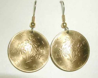 Coin Jewelry-golden Austrian Edelweiss earrings-nicely domed-free shipping
