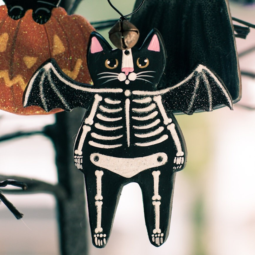 Skeleton Bat Cat Halloween Clay Folk Art Ornament