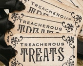 Halloween Tags - Treacherous Treats  - Black Halloween Wedding Favor Tags - Set of 8 party decorations