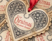 Christmas Vintage Hearts Gift Tags Etsy - Luxury Tags - Set of 5 - Bright Red Ribbon