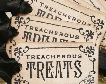 Halloween Tags - Treacherous Treats  - Black Halloween Wedding Favor Tags - Set of 8 party decorations