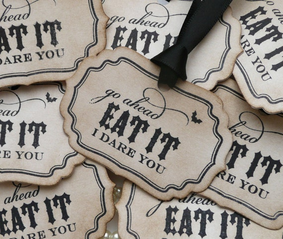 Eat It I Dare You Halloween Labels - Gothic or Halloween Weddings - Set of 8 As Featured on Etsy Front Page