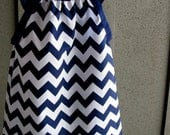 dress - chevron zigzag navy white blue girl baby toddler  0-3, 3-6, 6-12, 12-18, 18-24, 2t, 3t 4t 5t 6 7/8  nautical wedding summer