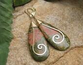 Teardrop Unakite Earrings with Hammered Swirl - Gold Filled