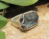 Rectangular Australian Boulder Opal Ring - Sterling