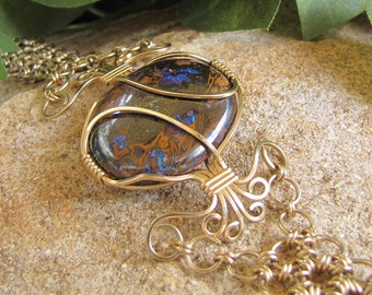 Blue Flash Opal and Chain Maille Bracelet - Gold-Filled