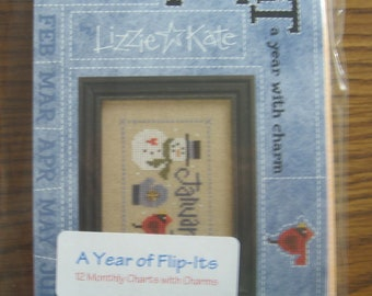 Lizzie Kate  'Flip-it Months with Charms'  complete set of 12 charts, FREE SHIPPING