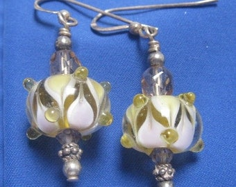 Lampwork Glass Bead Earrings White Yellow Swarovski Crystals Silver Beads Elegant