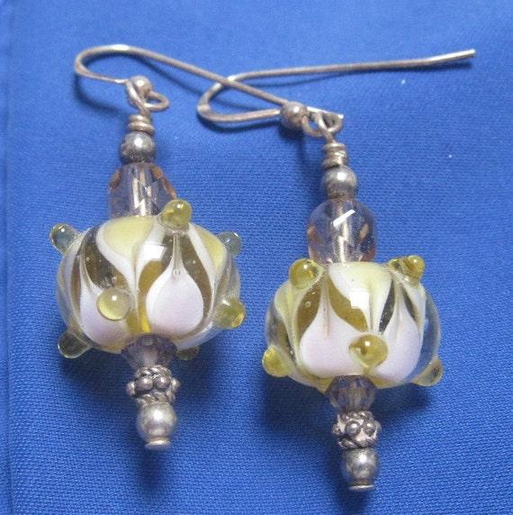 Lampwork Glass Bead Earrings White Yellow Swarovski Crystals Silver Beads Elegant