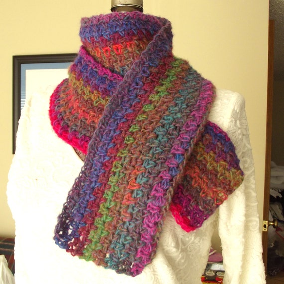 Crochet Wool Scarf, Handmade Soft, Brilliant Colors, Hot Pink Purple Blue Green