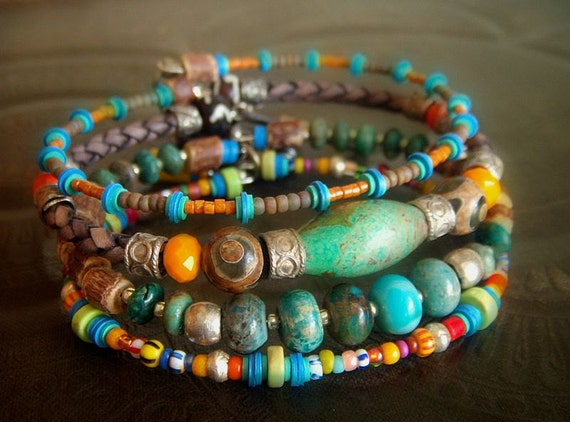 Jasper, Agate, Turquoise, Coco Shell and African glass Beaded Leather Charm Bangle Set