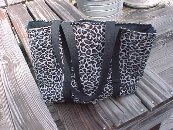 Tote Bag Style Purse or Diaper Bag in Black and Gray Animal Print Sweater Knit