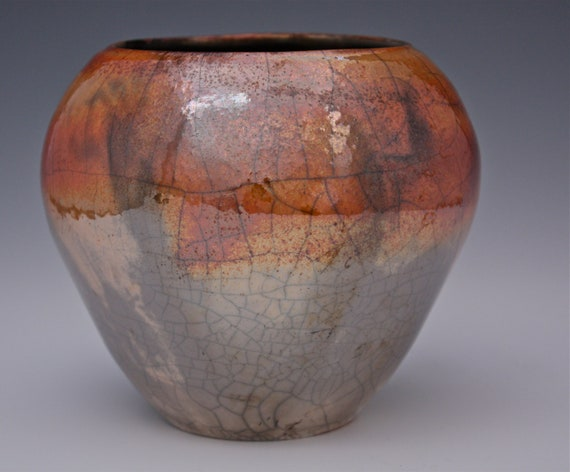 Raku Sunset Colorful Ceramic Vase